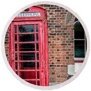 British Phone Box Round Beach Towel
