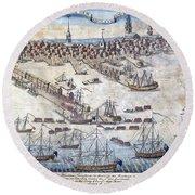 British Ships Of War, Landing Troops Round Beach Towel