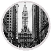 Broad Street At City Hall Round Beach Towel