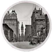 Broad Street Philadelphia 1905 Round Beach Towel