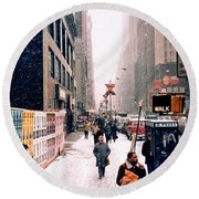 Broadway And 42nd Street 1985 Round Beach Towel