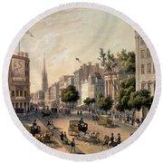 Broadway In The Nineteenth Century Round Beach Towel by Augustus Kollner