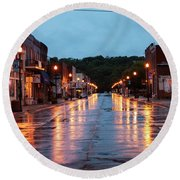 Broadway St. Excelsior Springs, Mo Round Beach Towel