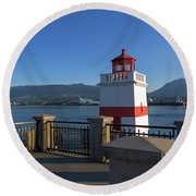 Brockton Point Lighthouse In Vancouver Bc Round Beach Towel