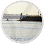 Brockton Point Lighthouse On Peninsula At Stanley Park Round Beach Towel