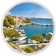 Brodarica Village On Adriatic Sea Round Beach Towel