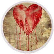 Broken And Bleeding Heart On The Wall Round Beach Towel