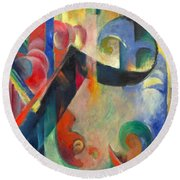 Broken Forms By Franz Marc Modern Bright Colored Painting  Round Beach Towel