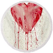 Broken Heart - Bleeding Heart Round Beach Towel