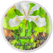 Broken Places Round Beach Towel
