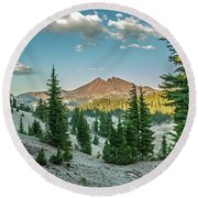 Broken Top, Oregon Round Beach Towel