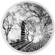 Broken Trees Round Beach Towel
