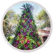 Bromeliad Christmas Tree At Pinewood Estate, Bok Tower Round Beach Towel