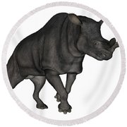 Brontotherium Isolated On White Round Beach Towel