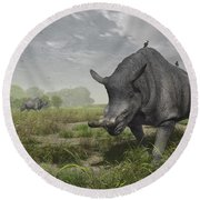 Brontotherium Wander The Lush Late Round Beach Towel by Walter Myers