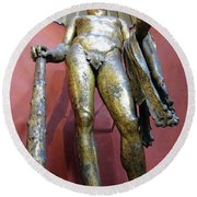 Bronze Statue Of Hercules In The Vatican Museum Round Beach Towel