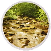 Bronze Stream Round Beach Towel