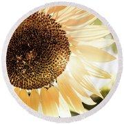 Bronze Sunflower Round Beach Towel