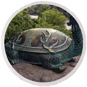 Bronze Turtle Dragon Sculpture Round Beach Towel