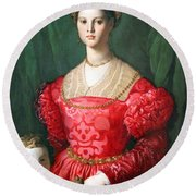 Bronzino's A Young Woman And Her Little Boy Round Beach Towel