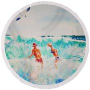 Brooke And Carey In The Shore Break Round Beach Towel