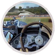 Brooklands From The Hot Seat  Round Beach Towel