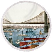 Brooklyn Bridge, 1872 Round Beach Towel