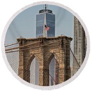Brooklyn Bridge And One World Trade Center In New York City  Round Beach Towel