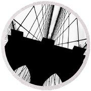 Brooklyn Bridge Architectural View Round Beach Towel