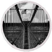 Brooklyn Bridge Bw Round Beach Towel