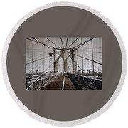 Brooklyn Bridge By Art Farrar Photographs, Ny 1930 Round Beach Towel