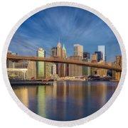 Brooklyn Bridge From Dumbo Round Beach Towel
