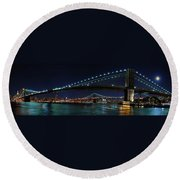 Brooklyn Bridge Full Moon Round Beach Towel