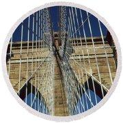 Brooklyn Bridge New York City Round Beach Towel