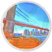 Brooklyn Bridge New York Pop Art Round Beach Towel
