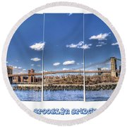 Brooklyn Bridge Pano  Round Beach Towel