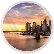 Brooklyn Bridge Panorama Round Beach Towel