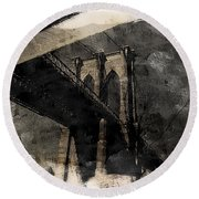 Brooklyn Bridge Reflection Abstract Round Beach Towel