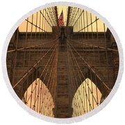 Brooklyn Bridge Sunset Round Beach Towel