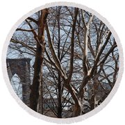 Brooklyn Bridge Thru The Trees Round Beach Towel
