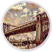 Brooklyn Bridge Watercolor Round Beach Towel