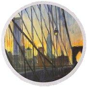 Brooklyn Bridge Wires Round Beach Towel