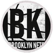 Brooklyn Nets City Poster Art Round Beach Towel