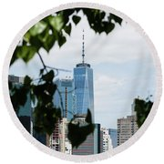 Brooklyn View Of One World Trade Center  Round Beach Towel