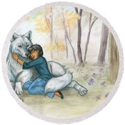 Brother Wolf - Dream Round Beach Towel by Brandy Woods