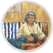 Brother Wolf - Grandmother's Lap Round Beach Towel