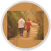 Brothers Into The Woods Round Beach Towel
