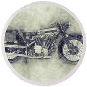 Brough Superior Ss100 - 1924 - Motorcycle Poster 1 - Automotive Art Round Beach Towel
