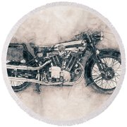 Brough Superior Ss100 - 1924 - Motorcycle Poster - Automotive Art Round Beach Towel