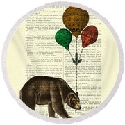 Brown Bear With Balloons Round Beach Towel